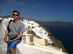 Javier in Oia (Santorini)  Marble sidewalks. The Mediterranean. Cave houses. Too beautiful for words.