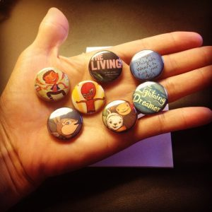 Buttons of the winning titles. Thank you, Celia Perez!