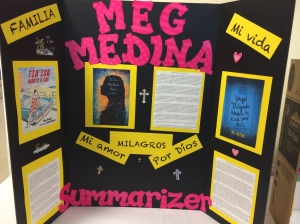 Poster for Meg Medina books