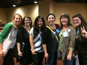 #WeNeedDiverseBoosk founder Ellen Oh surrounded by adoring fans from Iguana Books at North Atlantic Booksellers Association