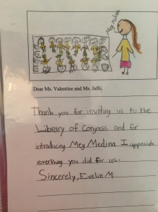 Thank you letter from my appearance at the Library of Congress with bilingual students last year.