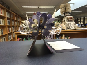 Discarded books recycled into an new art form at Meadwobrook!