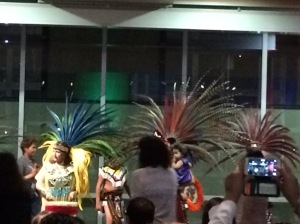 Dancing based on Aztec storytelling at Noche de Cuentos.