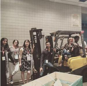 Aisha Saeed, me, IW Gregorio, Soman Chainani, Libba Bray, and Jaqueline Woodson. Why not pose with a forklift?  (Backstage at BookCon)