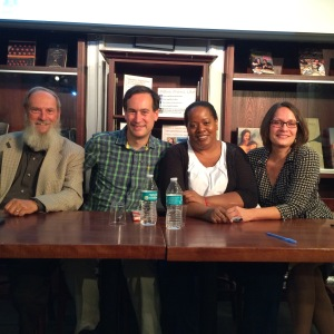 L t R: David Shipler, David Levithan, Coe Booth, and me at HousingWorks