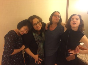 Book women trying to be divas in the restroom of the Four Seasons. With Jamie Tan from Candlewick, and authors Monica Brown (Lola Levine is Not Mean...and countless other award-winning titles) and Maggie Thrasher (Honor Girl)