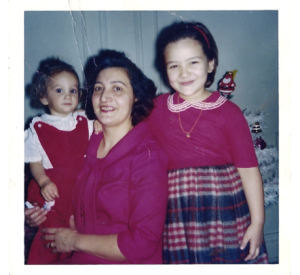 with my mother and sister, Christmas