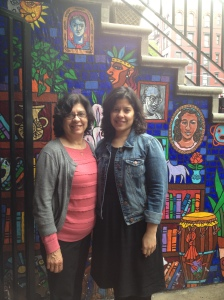 Marilisa and her book-loving mom on the doorstep of La Casa Azul
