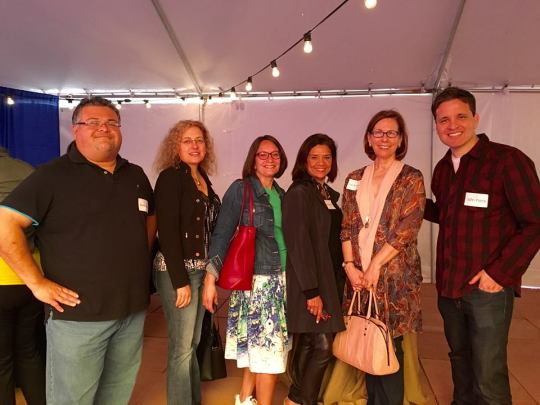 At the opening cocktail party with Xavier Garza, Emma Virján, Sonia Manzano, Pam Muñoz Ryan and John Parra