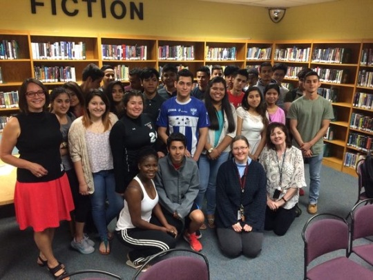 The beautiful students at Herndon High School, about to finish their years as ESL students. These students were funny, charming, and so sweet. Great questions about Yaqui Delgado Wants to Kick Your Ass, which they all read in English.