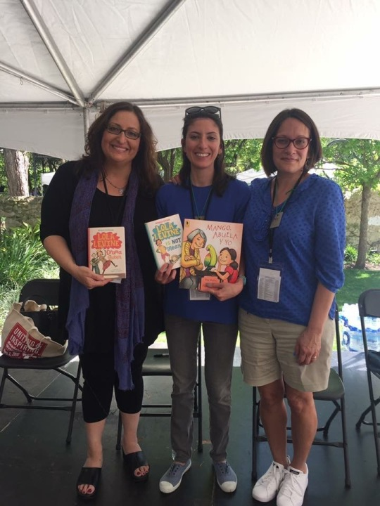 Monica Brown and I flanking illustrator Angela Dominguez who has worked on books by each of us