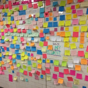 The wall of sticky notes extended so long...