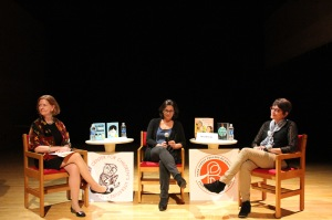 With RJ Palacio and Jennifer Brown, talking about childhood friendships and how they can lead to a literary life